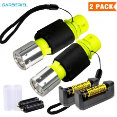 2 Pack Diving Flashlight Scuba Light with 18650 Battery and Charger
