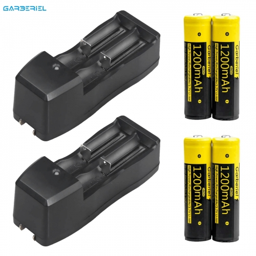 4 Pack Rechargeable High Protective Li-ion Batteries + 2 Pack Dual Battery Charger