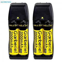 2000mAh Rechargeable 18650 Battery 4 Pack with 2 US Dual Charger