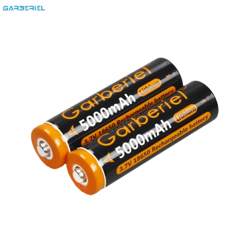 2PC Garberiel 18650 3.7V Battery 5000mAh Li-ion Battery(Orange)