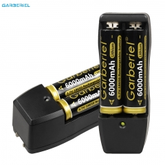 4pc 18650 6000mAh Rechargeable Battery with 2 Dual Wall Charger for Led Flashlight