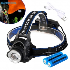 USB Rechargeable Zoomable 3 Modes LED Headlamp