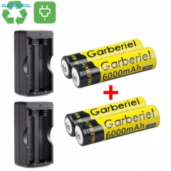 4pcs 18650 3.7V 6000mAh Flashlight Li-ion Rechargeable Battery + 2x Dual Charger (Not AA Not Flat Top Battery)