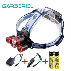 F526 LED Headlamp 4 Modes Headlight with Rechargeable Batteries and Charger for Running, Camping, Hiking