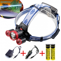 F526 Super Bright 3X T6 LED Headlamp Rechargeable 18650 Headlight Head Torch