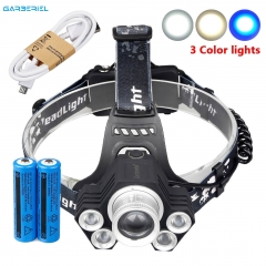 Garberiel 5-LED T6 Zoomable Headlamp USB Rechargeable 18650 Headlight Head Light
