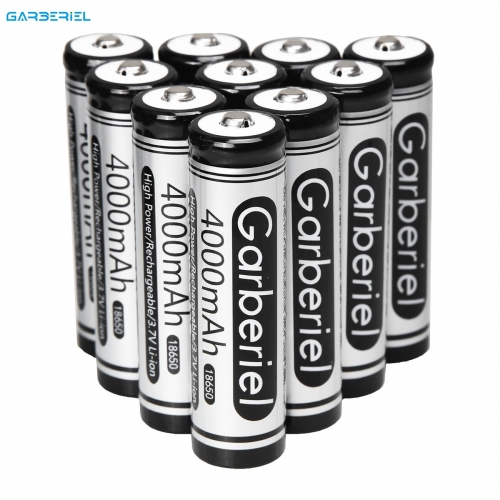 10 pcs Garberiel 4000mAh 3.7V Rechargeable 18650 Battery