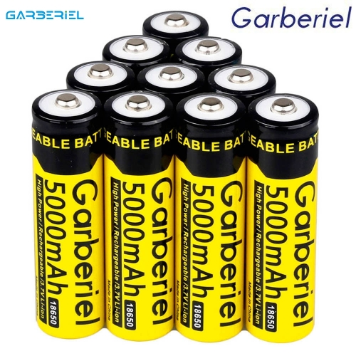 10PCS 5000mAh 3.7V Rechargeable 18650 Battery(Yellow)
